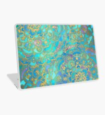 Saphir und Jade Glasmalerei Mandalas Laptop Folie