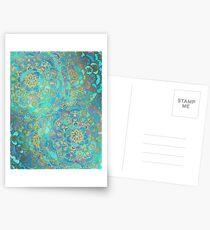 Sapphire & Jade Stained Glass Mandalas Postcards
