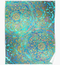 Saphir und Jade Glasmalerei Mandalas Poster