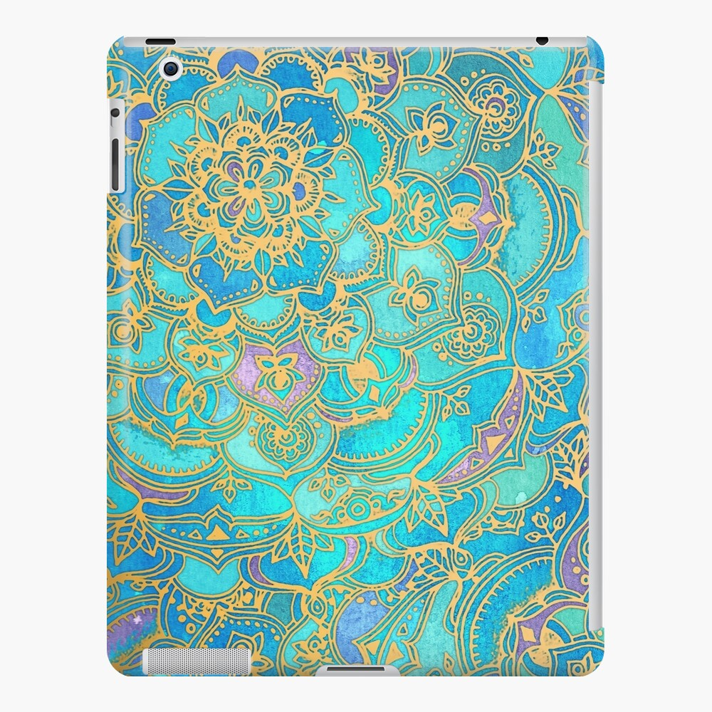 Sapphire & Jade Stained Glass Mandalas Funda y vinilo para iPad