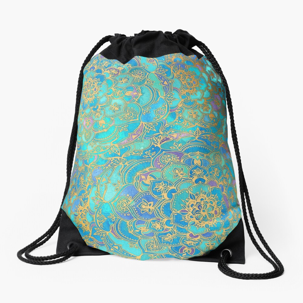 Sapphire & Jade Stained Glass Mandalas Drawstring Bag