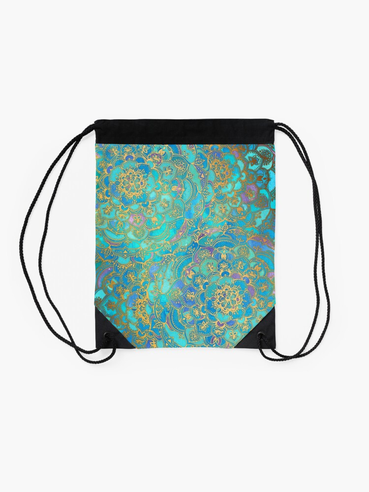 Alternate view of Sapphire & Jade Stained Glass Mandalas Drawstring Bag