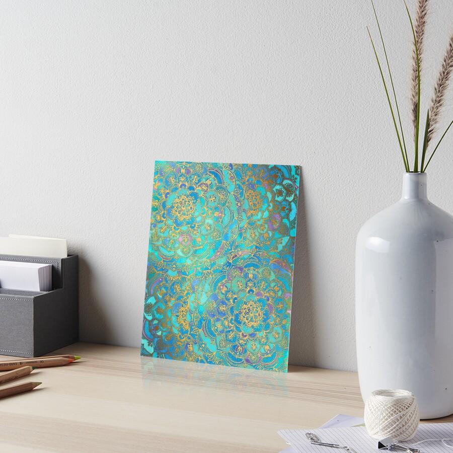 Saphir und Jade Glasmalerei Mandalas Galeriedruck