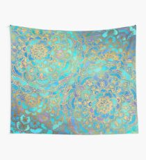 Sapphire & Jade Stained Glass Mandalas Wall Tapestry