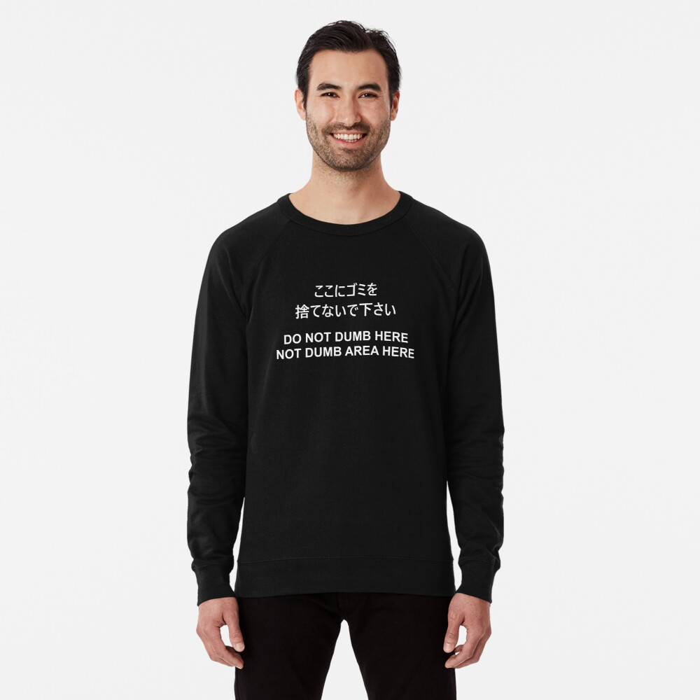 Bad Translation  - Do not dumb here. Not dumb area here. こにゴミを捨てないで下さい Lightweight Sweatshirt Front