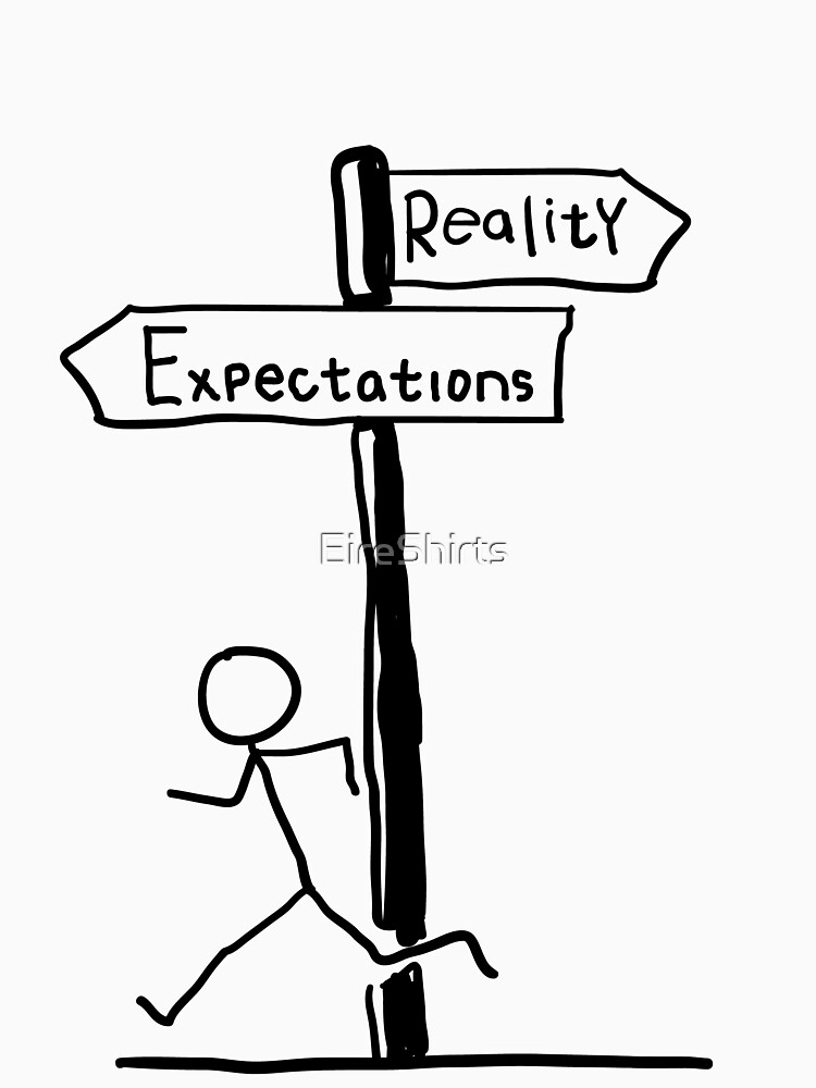 "Funny ""Expectations vs Reality"" Signpost Themed Design by EireShirts"