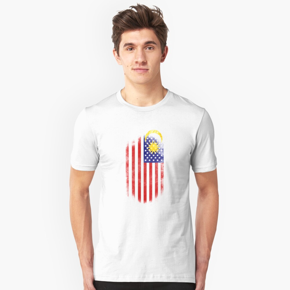 Malaysian American Flag   Malaysia and USA Design Unisex T-Shirt Front