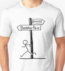 "Funny ""Bachelor Party vs Reality"" Signpost Themed Design Unisex T-Shirt"