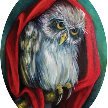 mysterious owl on a tree in a red Cape by Eevlada