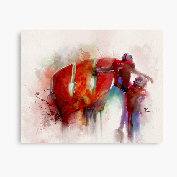 Wisconsin Badgers Football Watercolor Canvas Print