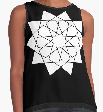 Islamic 10 Pointed Star Black & White Sleeveless Top