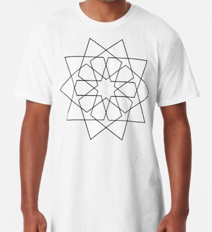 Islamic 10 Pointed Star Black & White Long T-Shirt