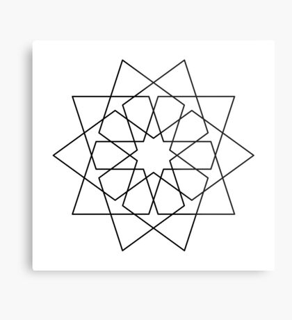 Islamic 10 Pointed Star Black & White Metal Print