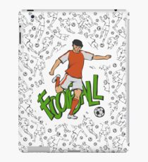 Football soccer in sports uniform going kick ball iPad Case/Skin