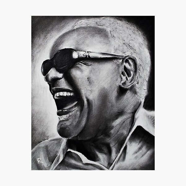 Ray Charles Charcoal Drawing Photographic Print