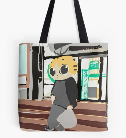 Hip Cat Goes Shopping Tote Bag