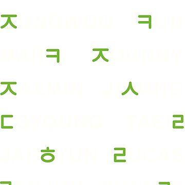NCT - Nombres Hangul (NEGRO) 18 MIEMBROS de Duckiechan