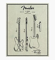 Fender Bass Guitar Stratocaster Patent 1953 Photographic Print