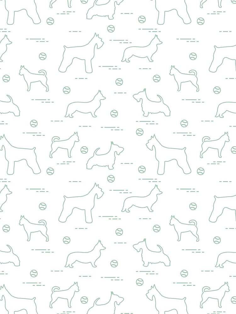 Seamless pattern with dogs and tennis balls. by aquamarine-p