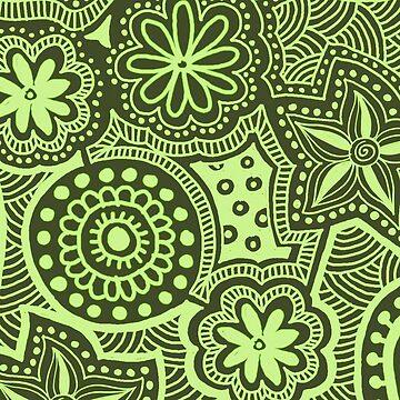 Green Ethnic Pattern by kbasandra