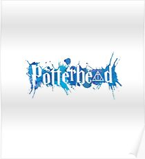 Potterheads and hp hallows with splashes outline (blue watercolors true) - wand, cloak, stone Poster