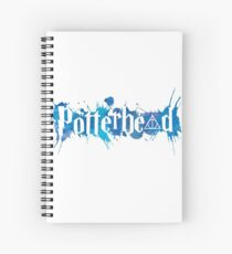 Potterheads and hp hallows with splashes outline (blue watercolors true) - wand, cloak, stone Spiral Notebook