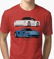 Supercar Evolution (white & blue) Tri-blend T-Shirt