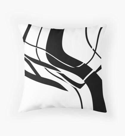 Organic No. 7 Black & White Abstract  Throw Pillow