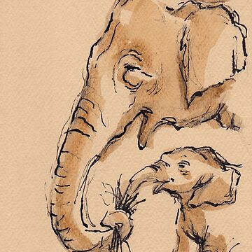 Snack Time:  Baby Elephant & Mama Watercolor Painting #13 by tranquilwaters