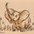 Baby Elephant's Blissful Day:  Baby Elephant Watercolor Painting #14 by Rebecca Rees