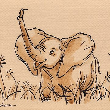 Baby Elephant's Blissful Day:  Baby Elephant Watercolor Painting #14 by tranquilwaters
