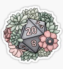 Succulent D20 Tabletop RPG Gaming Dice Sticker