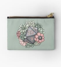 Succulent D20 Tabletop RPG Gaming Dice Zipper Pouch