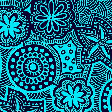 Abstract Blue Ethnic Pattern by kbasandra
