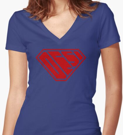 Desi SuperEmpowered (Red) Fitted V-Neck T-Shirt