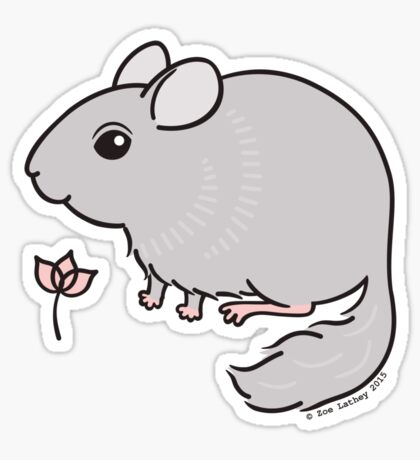 Sweet Chinchilla with Pink Flower  Sticker