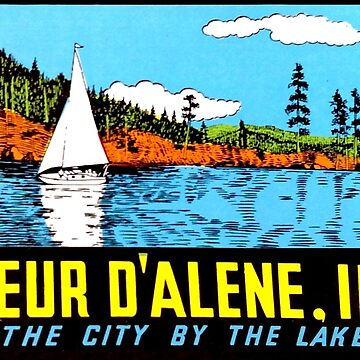 Coeur D'Alene Idaho Vintage Travel Decal by hilda74