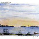 Island Sunset – Watercolour by Paul Gilbert