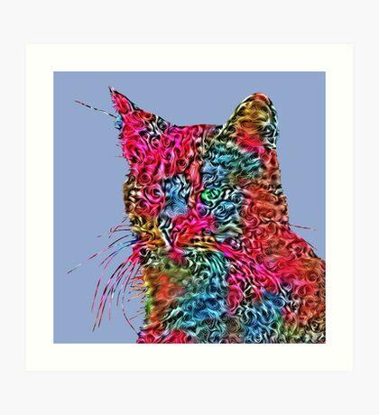 Artificial neural style Rose wild cat Art Print