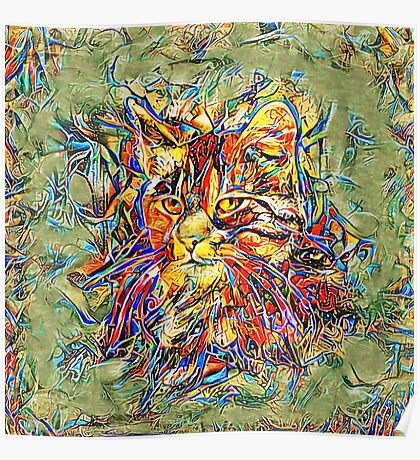 Ninja Cat. Deep Neural Networks #Art Poster