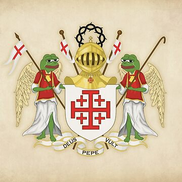 Medieval Pepe the Frog Deus lo vult motto of the Order of the Holy Sepulchre PopPepethefrog Crusader memes Parody Coat of Arms heraldry by iresist