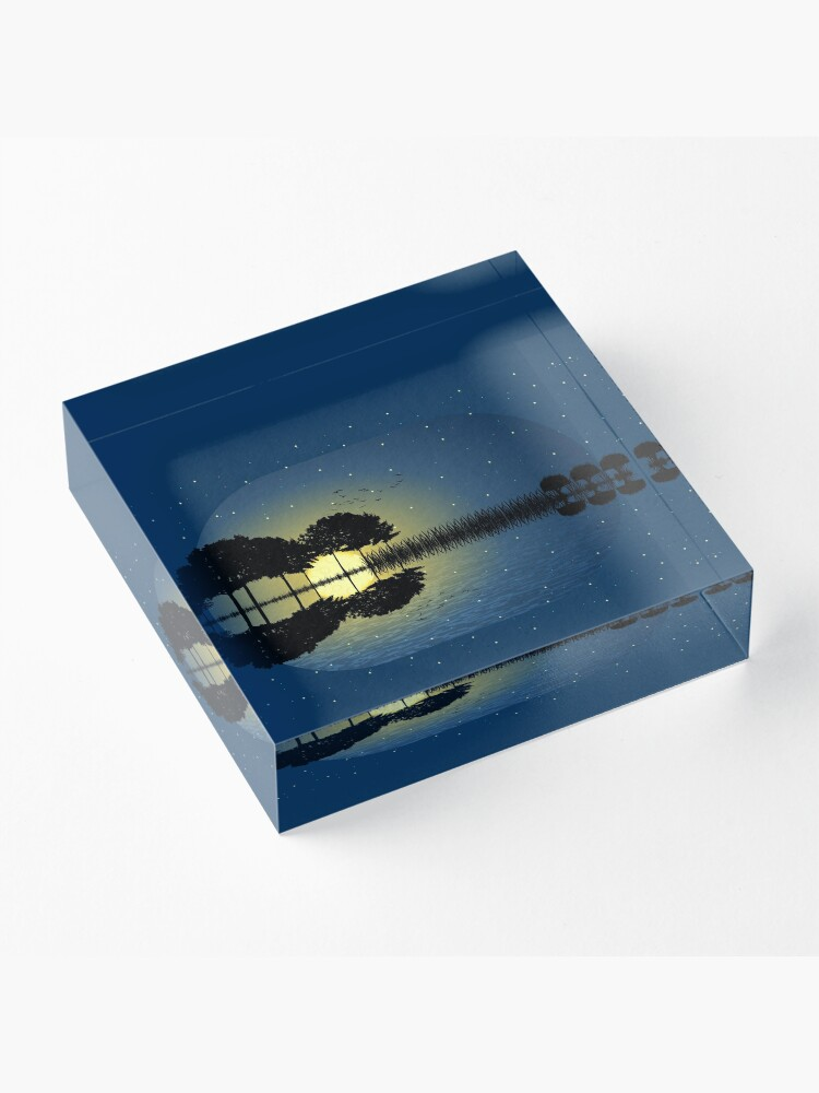 Alternate view of guitar island moonlight iLL Acrylic Block