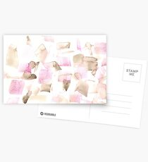 Violet Purple Brown Beige Abstract Watercolour  Postcards
