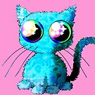 Kawaii cat Turqouise Pink Rainbow eyes by M-Lorentsson