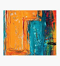 Acrylic abstract painting orange and blue Photographic Print