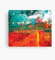 Abstract acrylic modern painting red land blue water Canvas Print