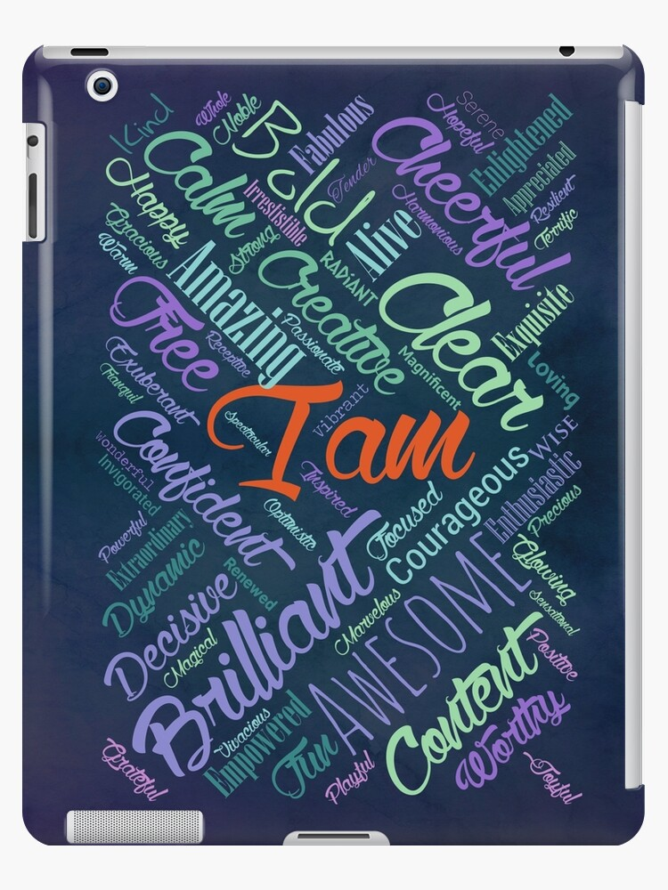 'I am Affirmations Word Cloud Art' iPad Case/Skin by Nartissima