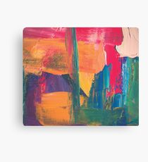 Abstract acrylic painting red, green, orange, purple Canvas Print