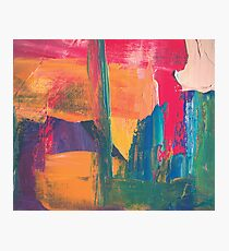Abstract acrylic painting red, green, orange, purple Photographic Print