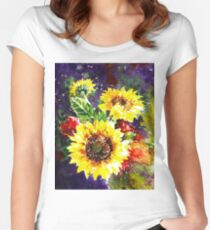 Impressionistic Sunflowers Women's Fitted Scoop T-Shirt